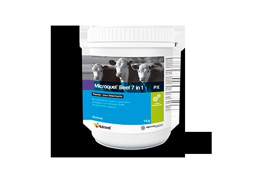 Microquel® Beef 7 in 1 Px microelementos orgánicos quelados y protegidos con metionina (ahm) de rendimiento superior. exclusivo para bovinos de carne