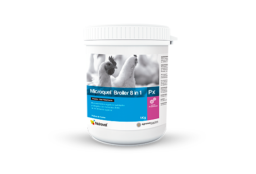 Microquel® Broiler 8 in 1 Px organic microelements chelated and protected with methionine for broiler chickens.