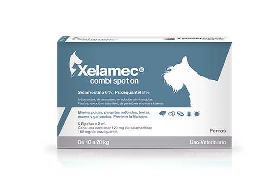 Xelamec® Combi Spot On systemic antiparasitic association of integral effect against ectoparasites, nematodes and tapeworms